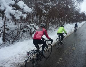 Riding in groups in the winter is more fun with mudguards